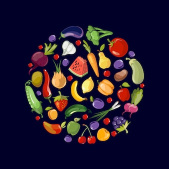 Ícones de alimentos orgânicos de frutas e legumes em círculo
