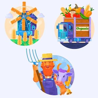 Ícones de alimentos orgânicos