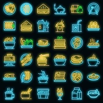 Ícones de almoço com néon de vetor
