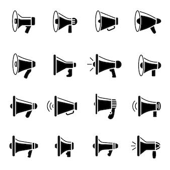 Ícones de alto-falante. conjunto de coleta de símbolos de anúncio de silhuetas de megafone.