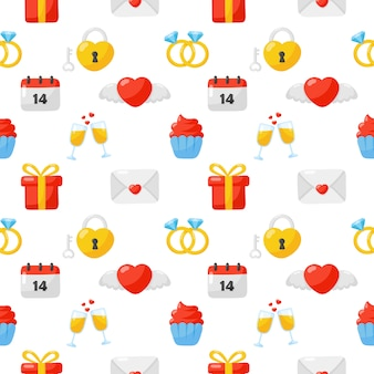 Ícones de amor e dia dos namorados conjunto padrão sem emenda isolado no fundo branco.