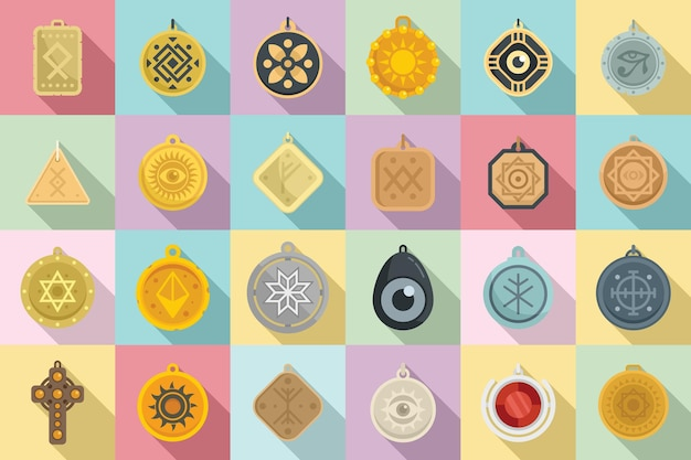 Ícones de amuleto definir vetor plana. moeda chinesa