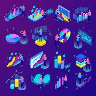 Ícones de análise de negócios brilhantes isométricos conjunto com pessoas fazendo vários gráficos e diagramas ilustração em vetor 3d isolado