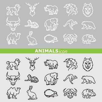 Ícones de animais. conjunto de linhas.