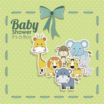 Ícones de animais de chuveiro de bebê