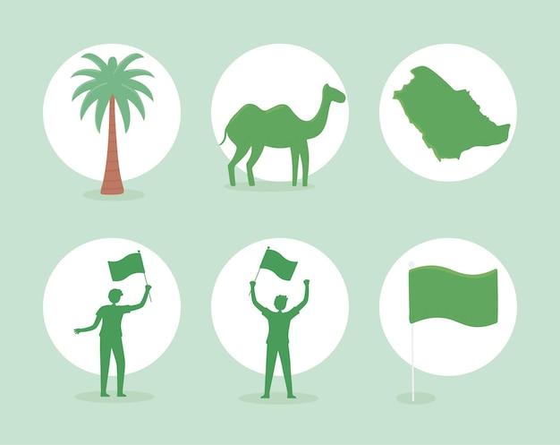 Ícones de animais e bandeiras sauditas
