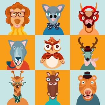 Ícones de animais hipster planas