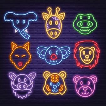 Ícones de animais neon