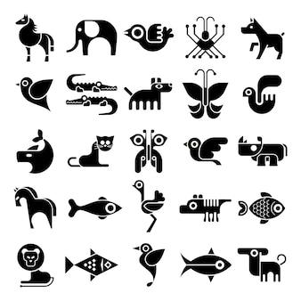 Ícones de animais preto e branco