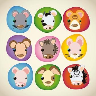 Ícones de animais rostos coloridos