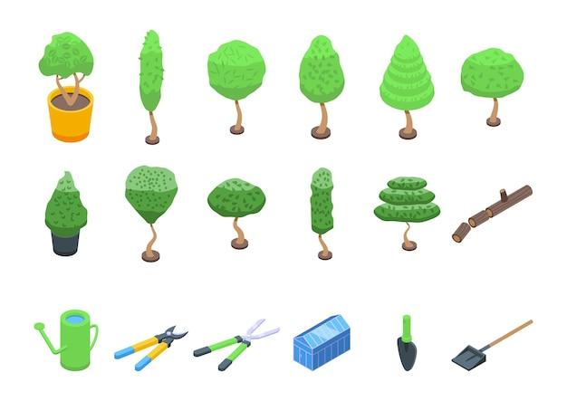 Ícones de aparamento de árvore definem vetor isométrico. árvore motosserra