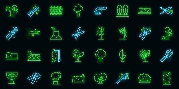 Ícones de aparamento de árvore definir vetor de contorno. lenhador de árvores. trabalhe a cor neon no preto