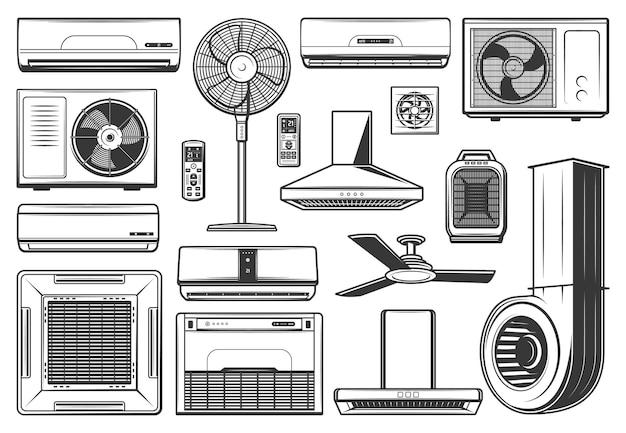 Ícones de aparelhos de condicionamento e ventilação