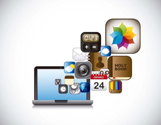 Ícones de aplicativos com laptop sobre vetor de fundo cinza