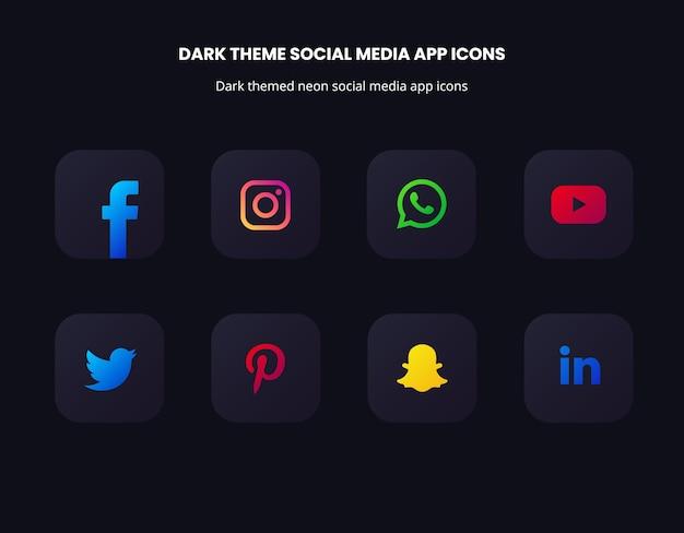 Ícones de aplicativos de mídia social com tema escuro