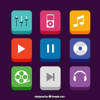 Ícones de aplicativos de música no estilo 3d