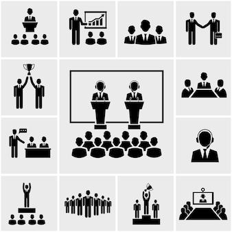 Ícones de apresentação e conferência de negócios de silhueta vetorial, conhecendo pessoas