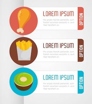 Ícones de apresentação infográfico de nutrição