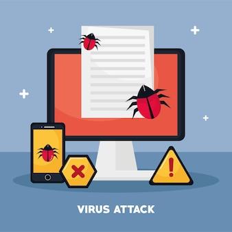 Ícones de área de trabalho e segurança cibernética