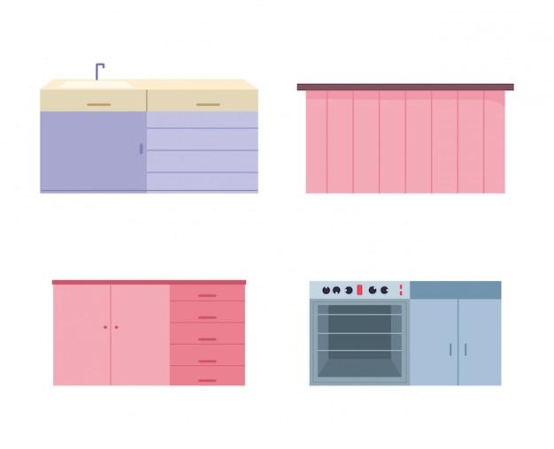 Ícones de armário de cozinha interior móveis fogão pia