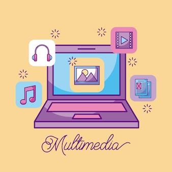 Ícones de armazenamento de informações de imagem para laptop multimídia