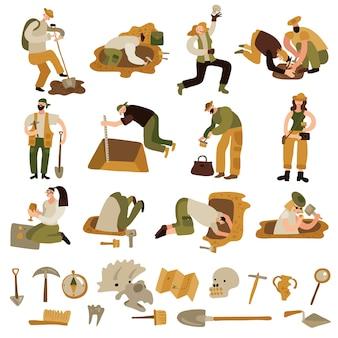 Ícones de arqueologia com símbolos de ossos e equipamentos