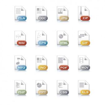 Ícones de arquivos diferentes