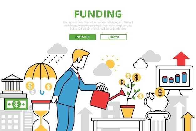 Ícones de arte de linha plana de conceito de financiamento de investimento