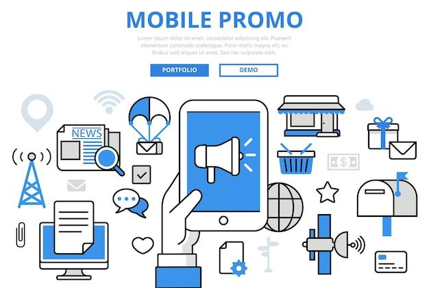 Ícones de arte de linha plana de conceito de promoção de marketing digital de promoção móvel.