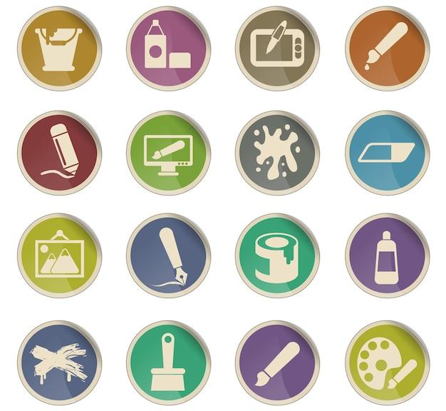 Ícones de arte vetorial na forma de etiquetas redondas de papel