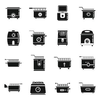 Ícones de assar fritadeira definir vetor simples. cozinhe comida elétrica. fritadeira de gordura