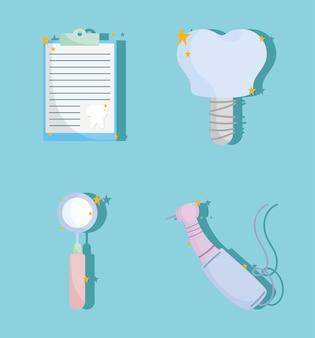 Ícones de atendimento odontológico