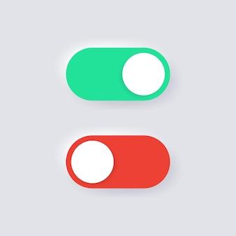 Ícones de ativação e desativação em botões de alternância de neumorfismo para design de ui ux de aplicativos