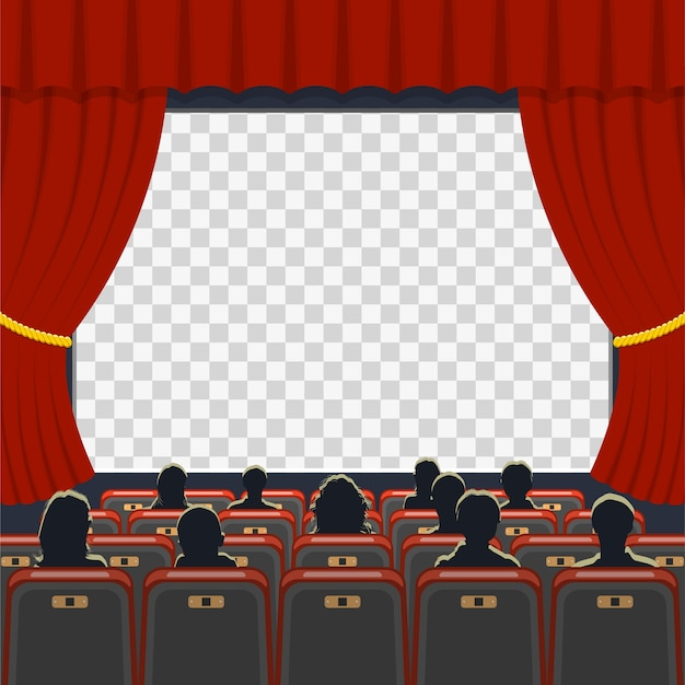 Ícones de auditório de cinema com poltronas, público e tela transparente,