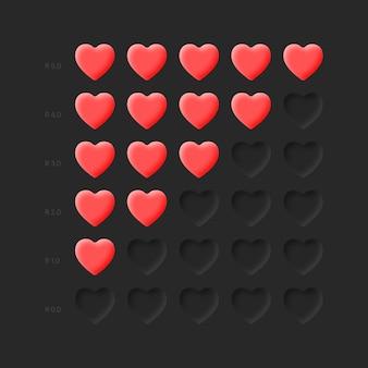 Ícones de avaliação corações vermelhos neumorphic design life health bar em fundo escuro