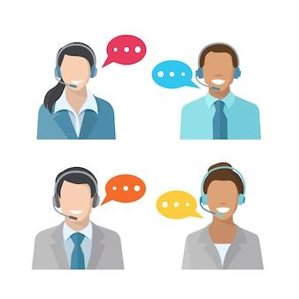 Ícones de avatar masculino e feminino de call center