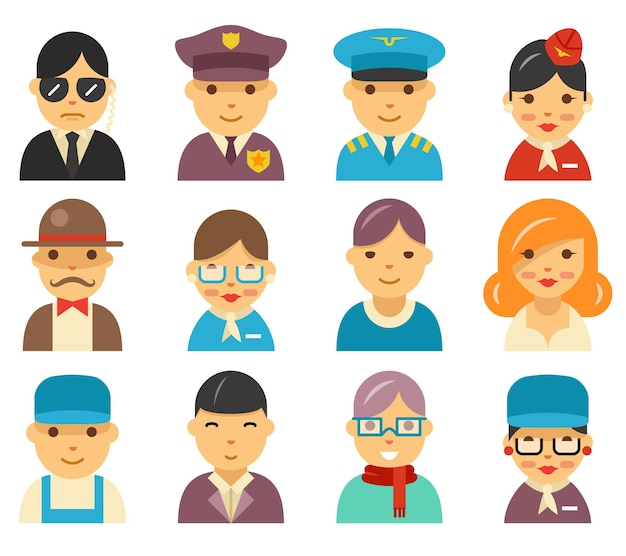 Ícones de avatar plana da aviação. personagens de aeroporto na ilustração de estilo simples.