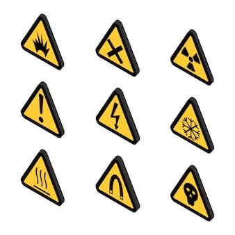 Ícones de aviso, toxina e perigo