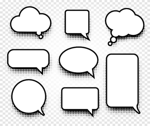 Ícones de balões de fala de quadrinhos coloridos abstratos em preto e branco