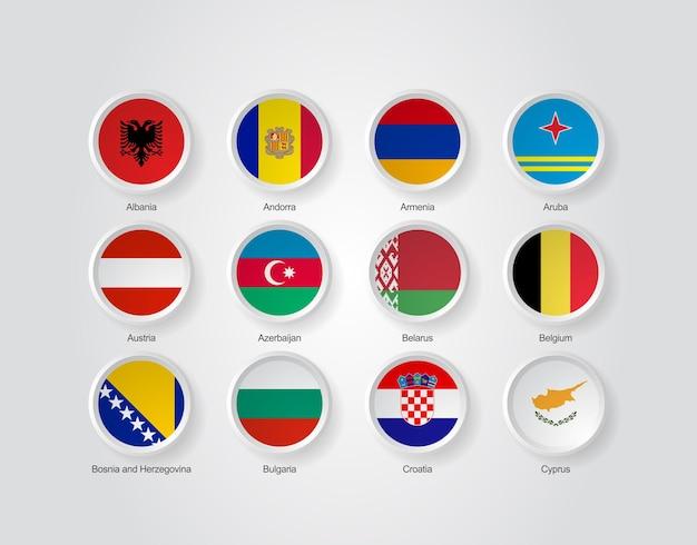 Ícones de bandeira 3d de países da europa parte 01