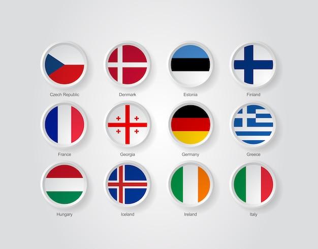 Ícones de bandeira 3d de países da europa parte 02
