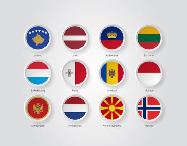Ícones de bandeira 3d de países da europa parte 03
