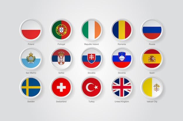 Ícones de bandeira 3d de países da europa parte 04