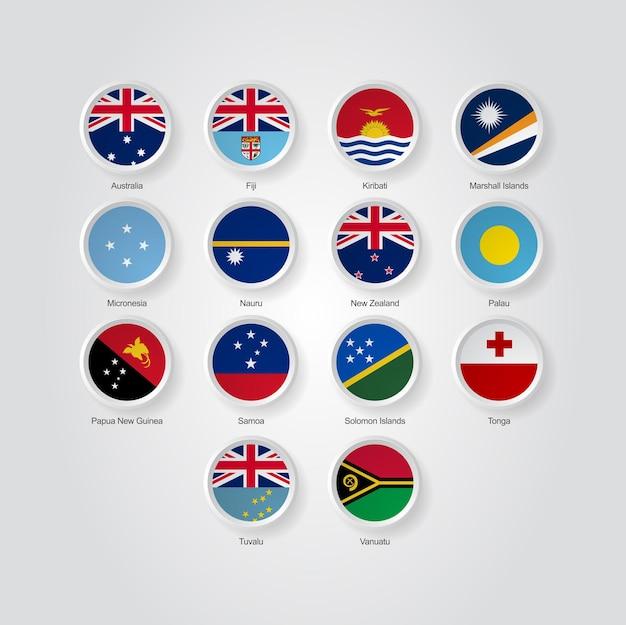Ícones de bandeira 3d dos países da austrália e da oceania