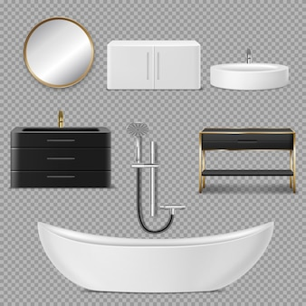 Ícones de banheira, chuveiro, espelho e pia para banheiro