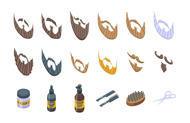 Ícones de barba definir vetor isométrico. velhote. barba