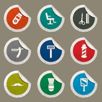 Ícones de barbearia definidos para sites e interface do usuário