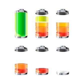 Ícones de bateria com diferentes níveis de carga