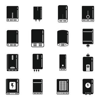 Ícones de bateria do banco de potência definem vetor simples. banco acumulador. carregador externo
