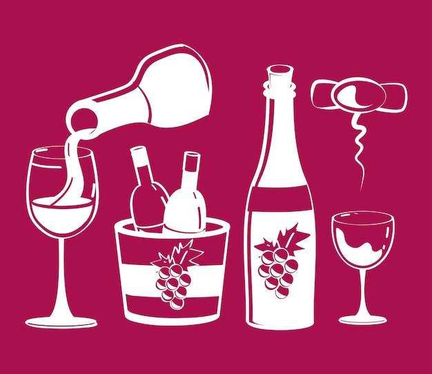 Ícones de bebida de vinho